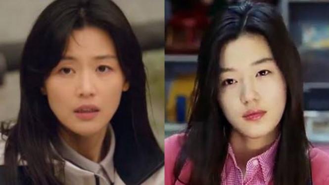 Jun Ji Hyun di drama Jirisan (2021) dan film My Sassy Girl (2001)